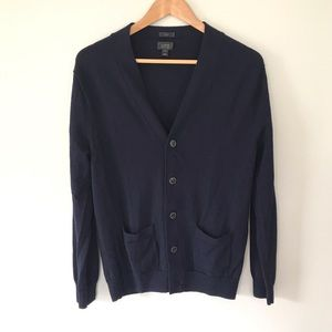 J. Crew Wool Navy Button Down Cardigan Boyfriend